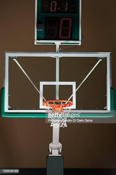 Basketball hoop with backboard and scoreboard