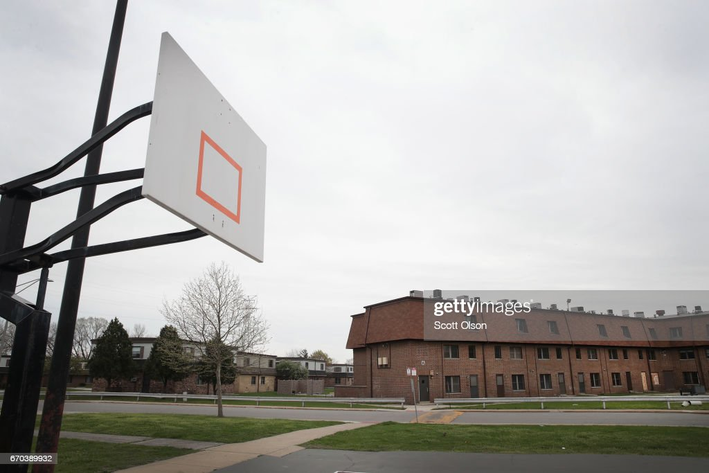 Basketball hoops have been removed from a park area on the edge of the West Calumet Housing Complex on April 19, 2017 in East Chicago, Indiana. Nearly all the residents of the complex were ordered to move by the East Chicago Housing Authority after the soil and many homes were found to contain high levels of lead. The area has been declared an EPA superfund site. Today EPA Administrator Scott Pruitt visited the site, his first visit to a superfund site since being named the agency's administrator. The complex has been scheduled for demolition.