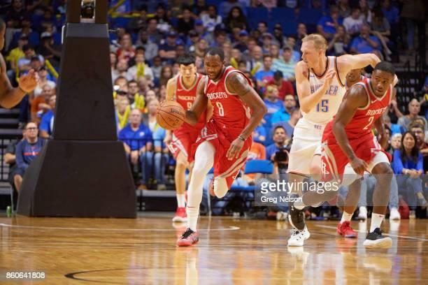 Houston Rockets Chris Johnson in action vs Oklahoma City Thunder during preseason game at BOK Center Tulsa OK CREDIT Greg Nelson