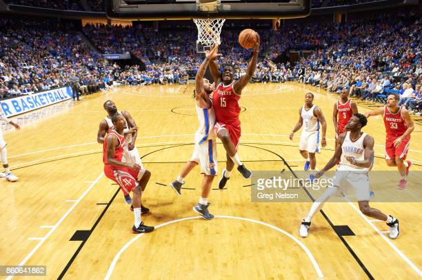 Houston Rockets Clint Capela in action vs Oklahoma City Thunder during preseason game at BOK Center Tulsa OK CREDIT Greg Nelson