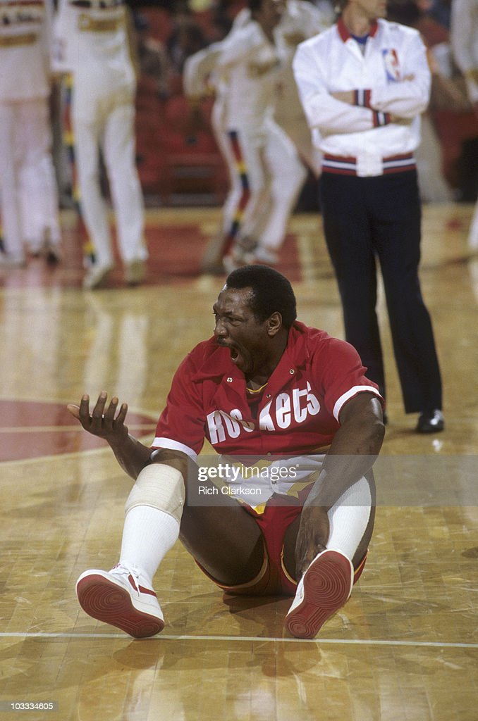 Houston Rockets Elvin Hayes stretching and yawning before game vs Denver Nuggets Denver CO 4/13/1983 CREDIT Rich Clarkson