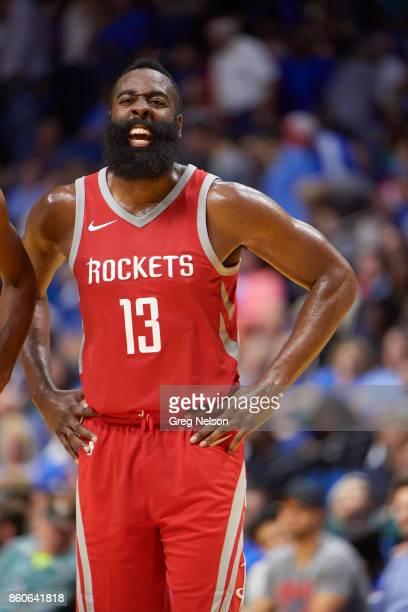 Houston Rockets James Harden during preseason game vs Oklahoma City Thunder at BOK Center Tulsa OK CREDIT Greg Nelson