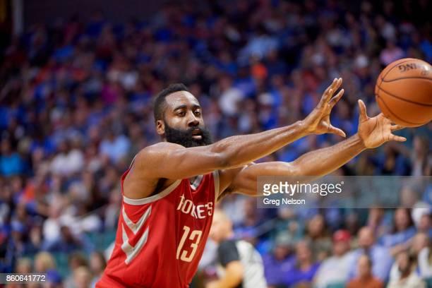 Houston Rockets James Harden in action passing vs Oklahoma City Thunder during preseason game at BOK Center Tulsa OK CREDIT Greg Nelson