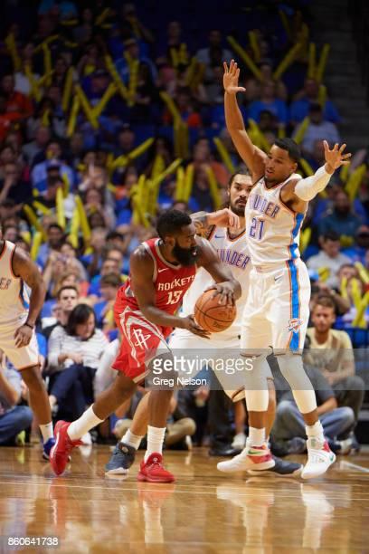 Houston Rockets James Harden in action vs Oklahoma City Thunder Andre Roberson during preseason game at BOK Center Tulsa OK CREDIT Greg Nelson