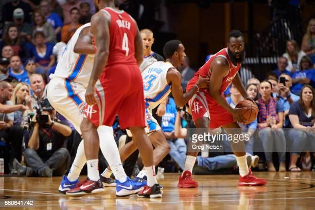 Houston Rockets James Harden in action vs Oklahoma City Thunder during preseason game at BOK Center Tulsa OK CREDIT Greg Nelson
