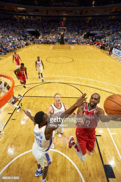Houston Rockets Luc Mbah a Moute in action vs Oklahoma City Thunder during preseason game at BOK Center Tulsa OK CREDIT Greg Nelson