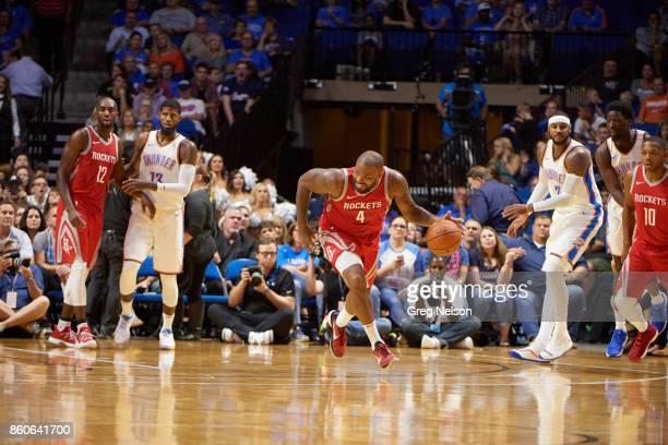 Houston Rockets PJ Tucker in action vs Oklahoma City Thunder during preseason game at BOK Center Tulsa OK CREDIT Greg Nelson