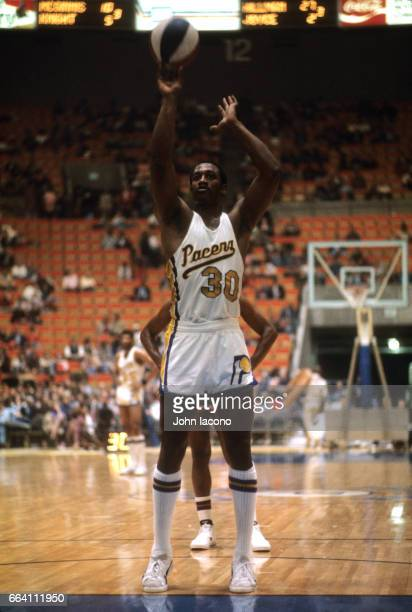 Indiana Pacers George McGinnis during free throw vs Kentucky Colonels at Market Sqaure Arena Indianapolis IN CREDIT John Iacono