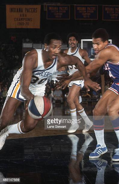 Indiana Pacers George McGinnis in aciton vs Utah Stars at Indiana State Fairgrounds Coliseum Indianapolis IN CREDIT Lane Stewart