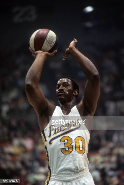 Indiana Pacers George McGinnis in action vs San Antonio Spurs at Market Square Arena Indianapolis IN CREDIT Heinz Kluetmeier