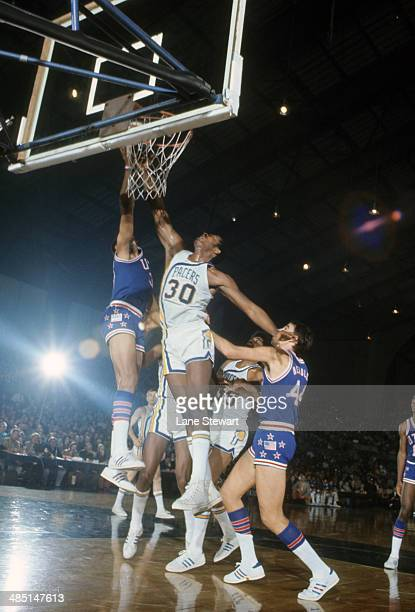 Indiana Pacers George McGinnis in action vs Utah Stars at Indiana State Fairgrounds Coliseum Indianapolis IN CREDIT Lane Stewart