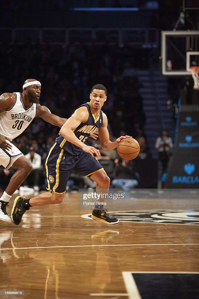Indiana Pacers Gerald Green (25) in action vs Brooklyn Nets Reggie Evans (30) at Barclays Center. Porter Binks F269 )