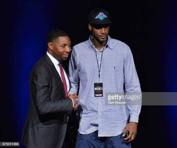 BIG3 basketball league President and Commissioner Roger Mason Jr greets Kwame Brown after he was selected fifth overall at Planet Hollywood Resort...