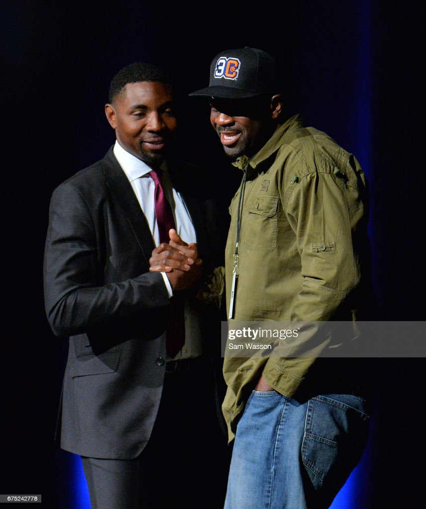 BIG3 basketball league President and Commissioner Roger Mason Jr. (L) greets Ruben Patterson after he was selected in the 2017 BIG3 draft at Planet Hollywood Resort & Casino on April 30, 2017 in Las Vegas, Nevada.