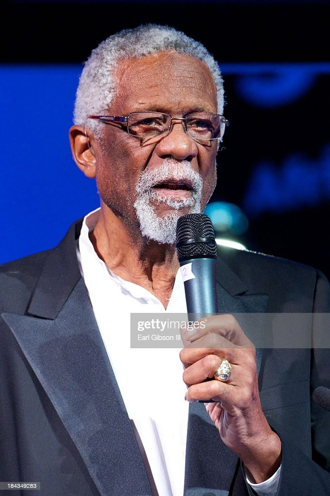 Basketball legend <a gi-track='captionPersonalityLinkClicked' href=/galleries/search?phrase=Bill+Russell+-+Basketball+Player&family=editorial&specificpeople=11524303 ng-click='$event.stopPropagation()'>Bill Russell</a> serves as a presenter speaking of artist Phoebe Beasley at 'An Artful Evening At CAAM' Gala at the California African American Museum on October 12, 2013 in Los Angeles, California.