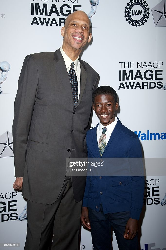 Basketball Legend <a gi-track='captionPersonalityLinkClicked' href=/galleries/search?phrase=Kareem+Abdul-Jabbar&family=editorial&specificpeople=206219 ng-click='$event.stopPropagation()'>Kareem Abdul-Jabbar</a> and young actor Kwesi Boakye pose for a photo at the NAACP Image Awards Nominee's Luncheon at Montage Beverly Hills on January 26, 2013 in Beverly Hills, California.