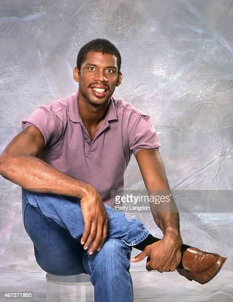 Basketball legend Kareem AbdulJabbar poses for a portrait in 1985 in Los Angeles California
