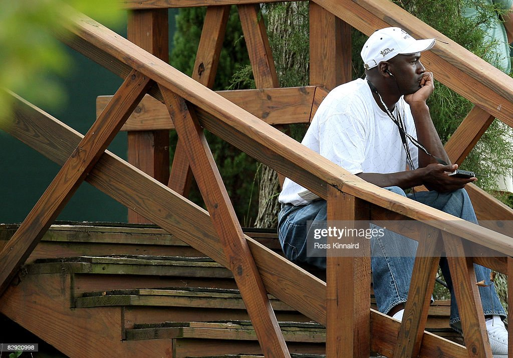 Basketball legend Michael Jordan watches the play during the afternoon four-ball matches on day one of the 2008 Ryder Cup at Valhalla Golf Club on September 19, 2008 in Louisville, Kentucky.
