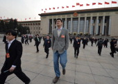 NBA basketball legend Yao Ming who is a delegate for Shanghai leaves the Great Hall of the People after a session of the Chinese People's Political...