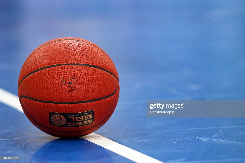 A basketball lies on the pitch during the Beko BBL Bundesliga match between Phoenix Hagen and FC Bayern Muenchen at ENERVIE Arena on December 22, 2011 in Hagen, Germany.