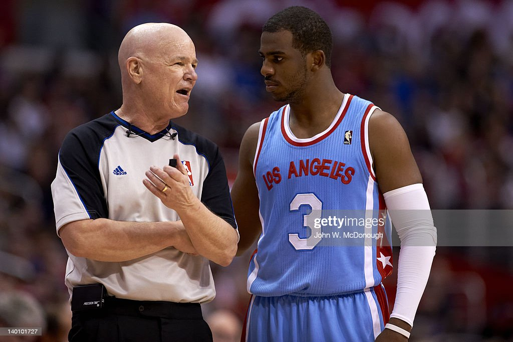 Los Angeles Clippers Chris Paul (3) with referee Joey Crawford during game vs San Antonio Spurs at Staples Arena. John W. McDonough F666 )