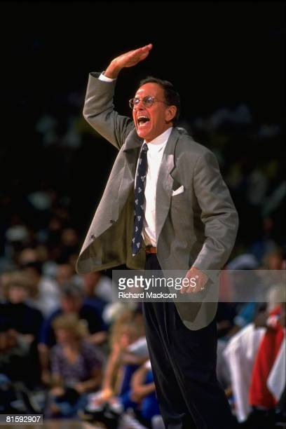 Basketball Los Angeles Clippers coach Larry Brown during game vs Los Angeles Lakers Los Angeles CA 2/19/1992