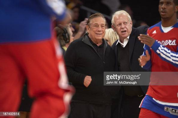 Los Angeles Clippers owner Donald Sterling courtside before game vs Los Angeles Lakers at Staples Center Los Angeles CA CREDIT John W McDonough