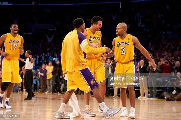 Los Angeles Lakers Derek Fisher victorious with Jason Kapono during game vs Dallas Mavericks at Staples Center Los Angeles CA CREDIT John W McDonough
