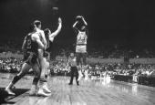 Basketball Los Angeles Lakers Elgin Baylor in action taking shot vs Detroit Pistons Inglewood CA