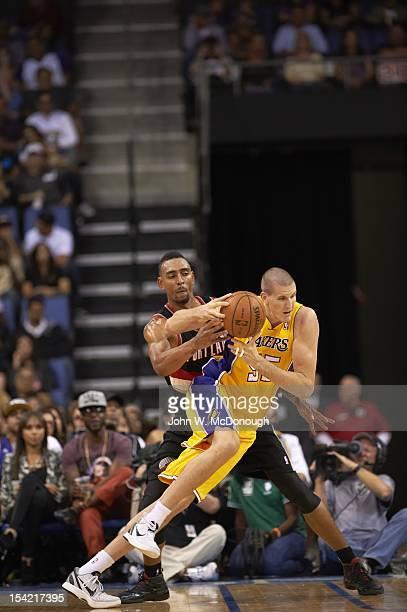 Los Angeles Lakers Greg Somogyi in action vs Portland Trail Blazers during preseason game at Citizens Business Bank Arena Ontario CA CREDIT John W...