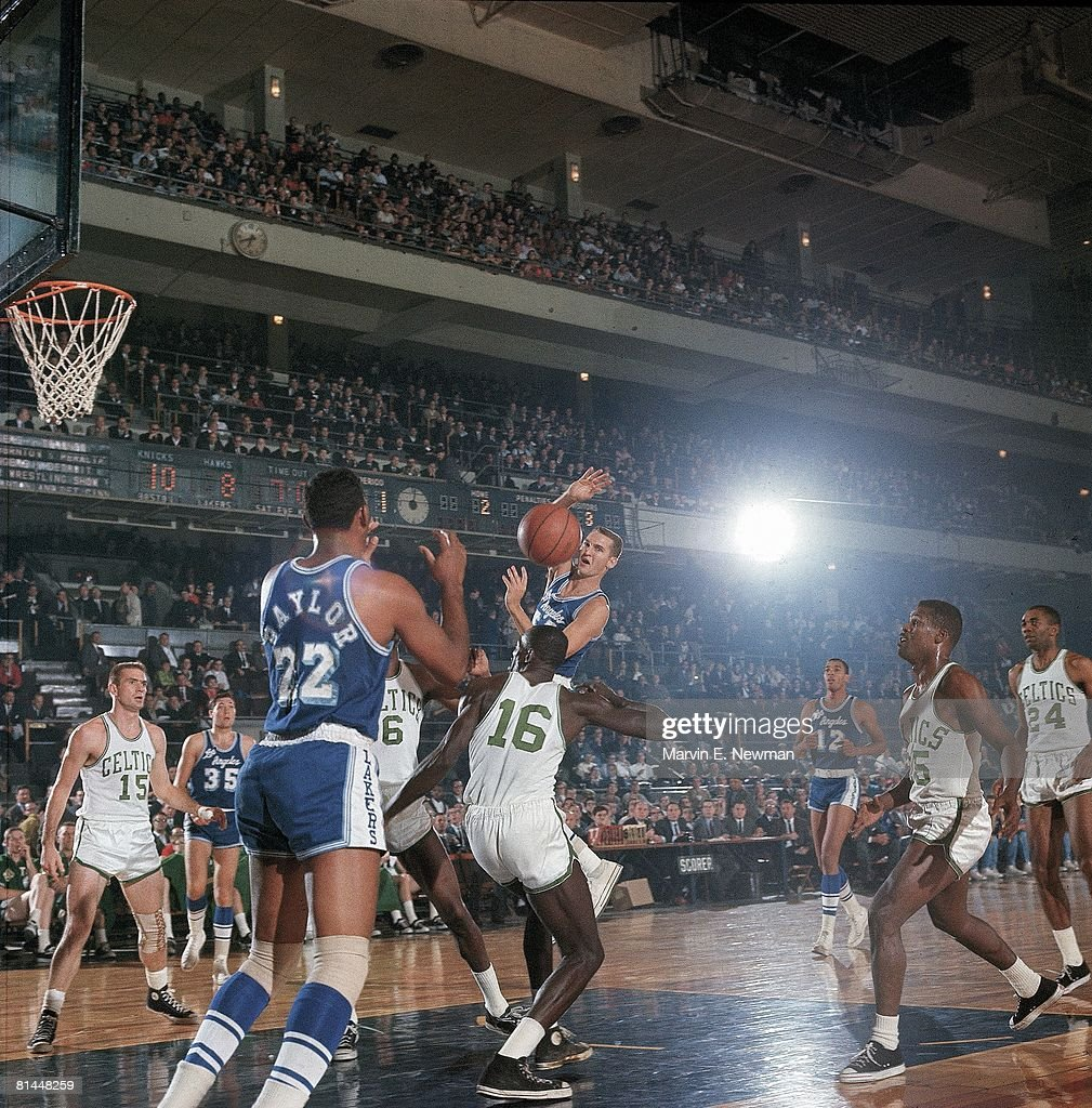 Basketball Los Angeles Lakers Jerry West and Elgin Baylor in action vs Boston Celtics New York NY