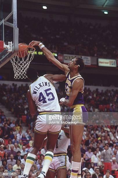 Los Angeles Lakers Kareem AbdulJabbar in action dunk vs Utah Jazz Jeff Wilkins at Thomas Mack Center AbdulJabbar broke record for career points set...