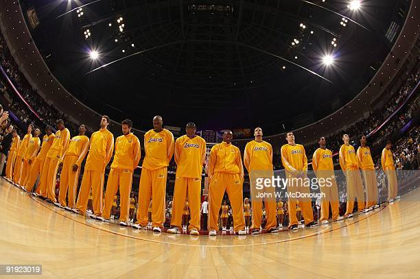Los Angeles Lakers team lined up during anthem before preseason game vs Golden State Warriors Anaheim CA 10/7/2009 CREDIT John W McDonough