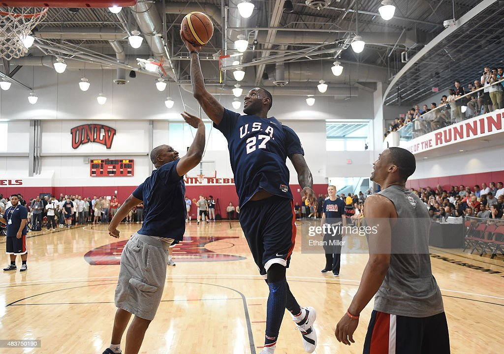 USA Basketball Men's National Team Assistant Director BJ Johnson guards LeBron James of the 2015 USA Basketball Men's National Team as Russell...