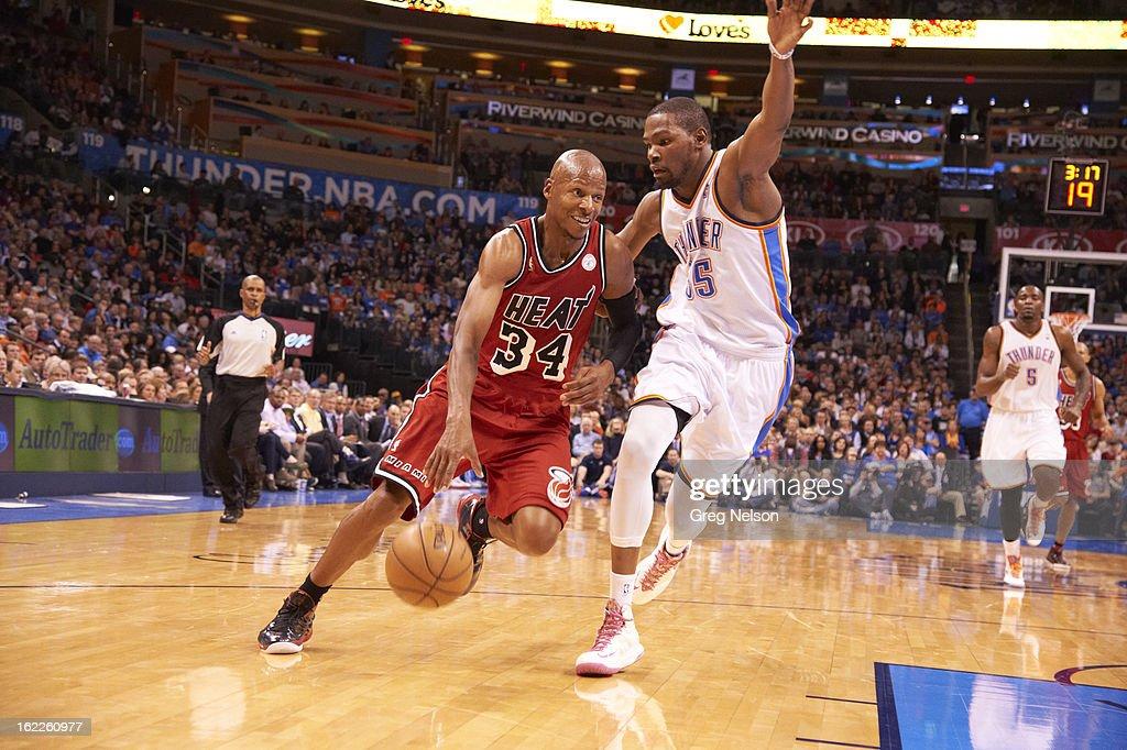 Miami Heat Ray Allen (34) in action vs Oklahoma City Thunder Kevn Durant (35) at Chesapeake Energy Arena. Greg Nelson F17 )