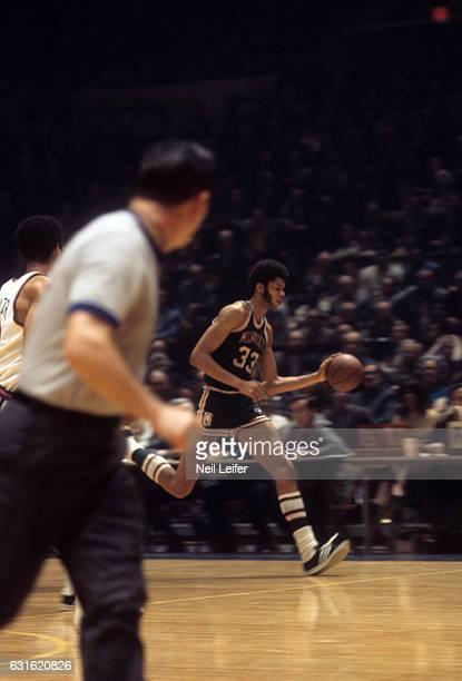 Milwaukee Bucks Lew Alcindor in action vs New York Knicks at Madison Square Garden New York NY CREDIT Neil Leifer