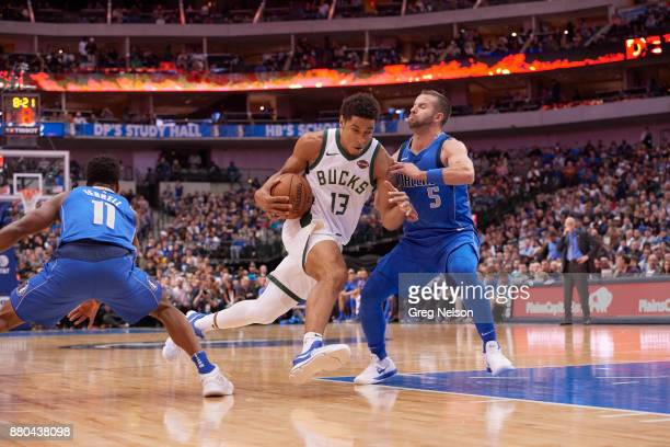 Milwaukee Bucks Malcolm Brogdon in action vs Dallas Mavericks JJ Barea at American Airlines Center Dallas TX CREDIT Greg Nelson