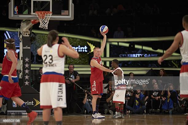 NBA All Star Celebrity Game Chris Mullin in action vs Kevin Hart during All Star Weekend at Madison Square Garden New York NY CREDIT Al Tielemans