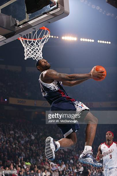 Basketball NBA All Star Game East LeBron James in action making dunk vs West during All Star Weekend Las Vegas NV 2/18/2007