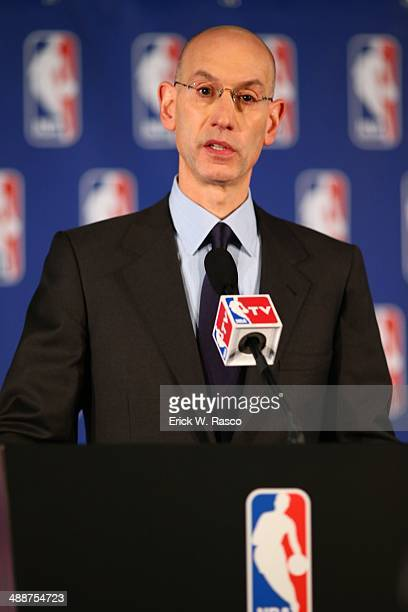 NBA commissioner Adam Silver announces lifetime ban of Los Angeles Clippers owner Donald Sterling during press conference at New York Hilton Midtown...