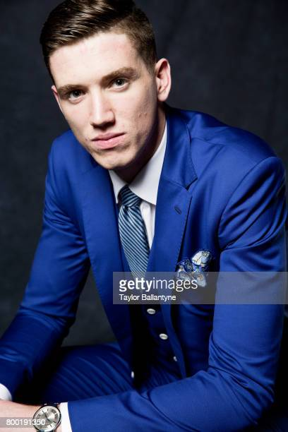 NBA Draft Closeup portrait of Indiana Pacers No 18 pick TJ Leaf posing during photo shoot after selection process at Barclays Center Behind the...