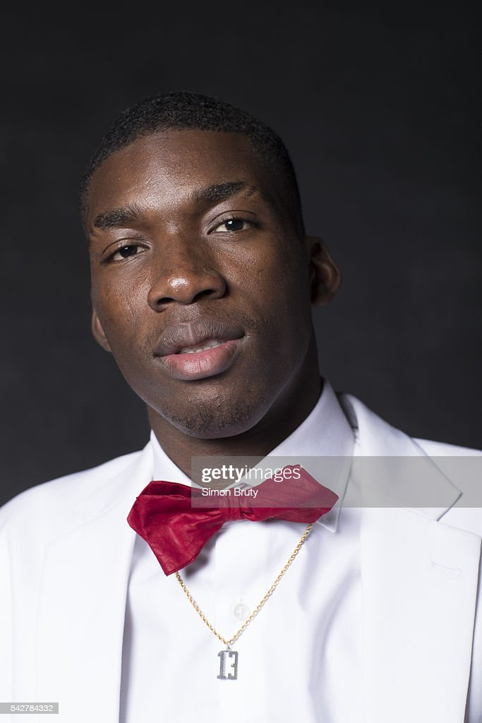 Closeup portrait of New Orleans Pelicans forward / center Cheick Diallo posing during photo shoot after selection process at Barclays Center. The Pelicans agreed to acquire Diallo from the Los Angeles Clippers. Behind the Scenes. Simon Bruty TK1 )