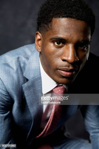 NBA Draft Closeup portrait of New York Knicks No 44 pick Damyean Dotson during photo shoot after selection process at Barclays Center Behind the...