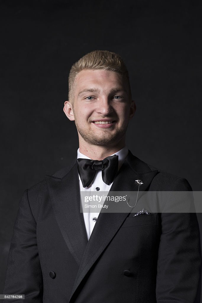 Closeup portrait of Oklahoma City Thunder forward Domantas Sabonis posing during photo shoot after selection process at Barclays Center. Behind the Scenes. The Thunder agreed to acquire Sabonis from the Orlando Magic. Simon Bruty TK1 )