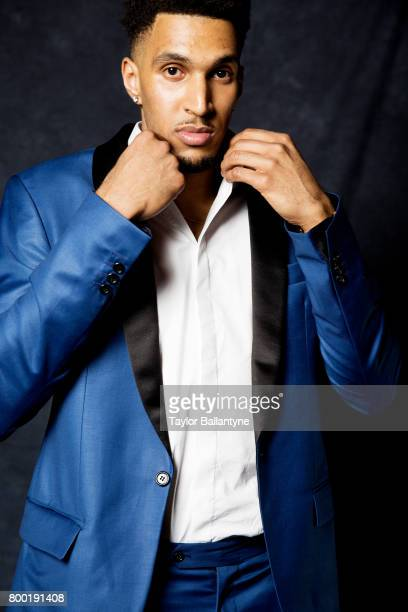 NBA Draft Closeup portrait of Philadelphia 76ers No 36 pick Jonah Bolden posing during photo shoot after selection process at Barclays Center Behind...