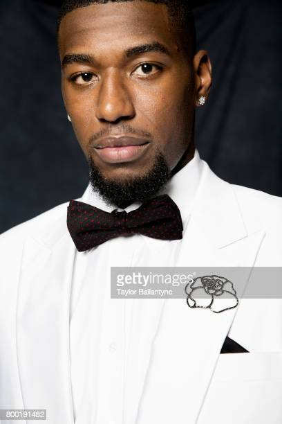 NBA Draft Closeup portrait of Philadelphia 76ers No 50 pick Mathias Lessort posing during photo shoot after selection process at Barclays Center...