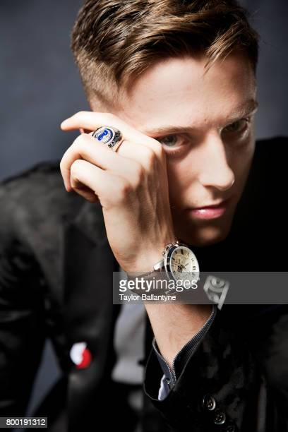 NBA Draft Closeup portrait of Portland Trail Blazers No 10 pick Zach Collins posing during photo shoot after selection process at Barclays Center...