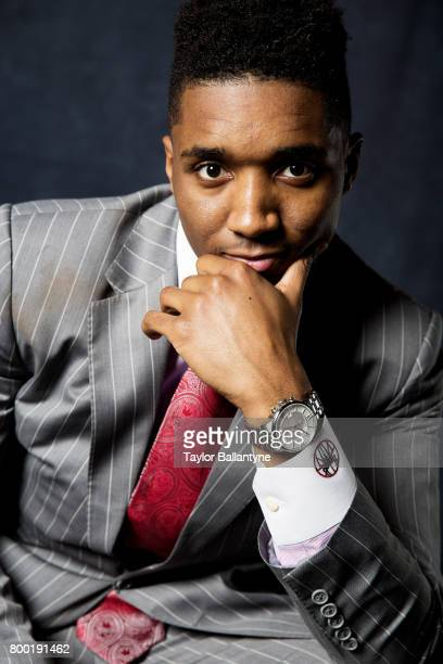NBA Draft Closeup portrait of Utah Jazz No 13 pick Donovan MItchell posing during photo shoot after selection process at Barclays Center Behind the...