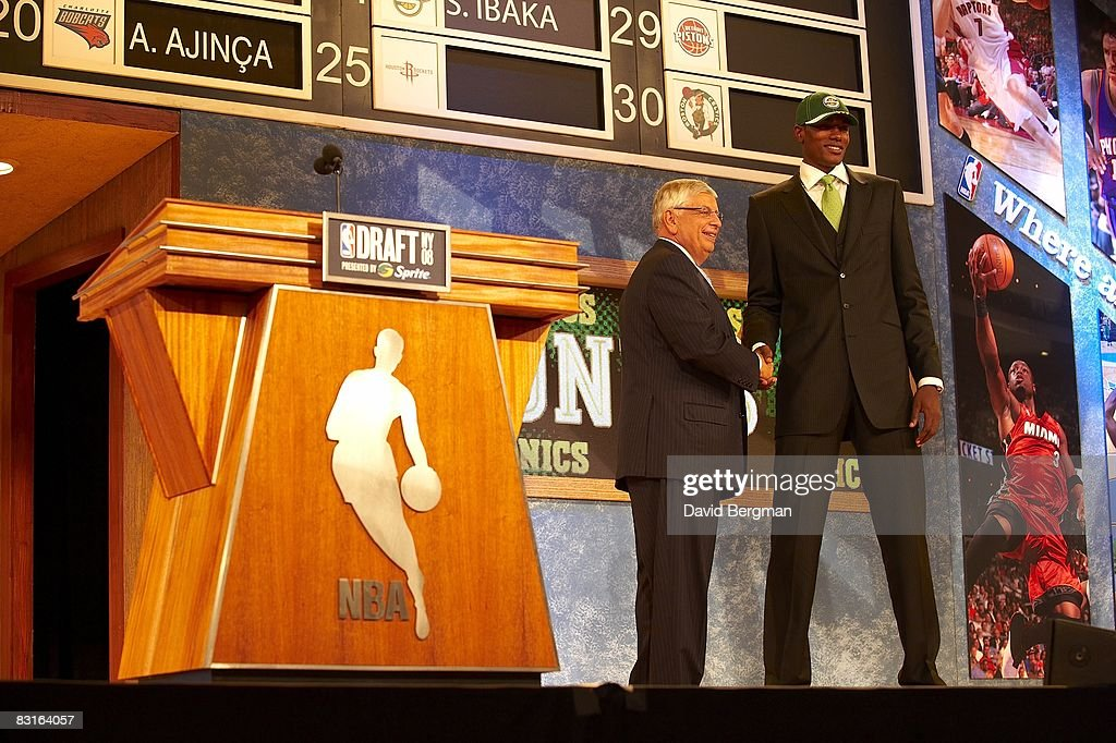 NBA commissioner David Stern shaking hands with Seattle Supersonics pick Serge Ibaka during draft at Madison Square Garden. New York, NY 6/26/2008