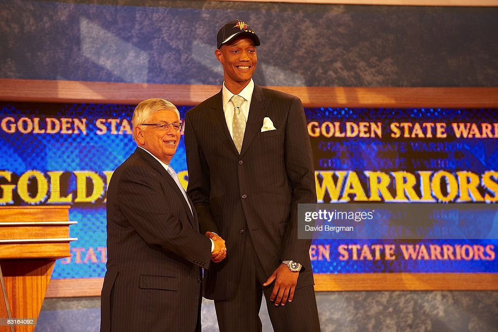 NBA commissioner David Stern shaking hands with Golde State Warriors pick Anthony Randolph during draft at Madison Square Garden. New York, NY 6/26/2008